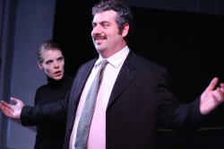 Ian Murphy as 'Menelaus' (w/ Nurse 1) in Orestes 2.1