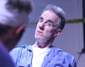 John Ball as Tapemouth Man in Orestes 2.1