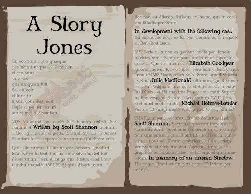 A STORY JONES - new play in development